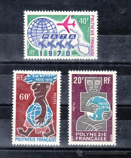 POLINESIA 77/9 CON CHARNELA, AVION, TURISMO, (Sellos - Extranjero - Oceanía - Otros paises)