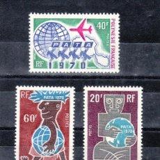 Sellos: POLINESIA 77/9 CON CHARNELA, AVION, TURISMO, . Lote 24579356