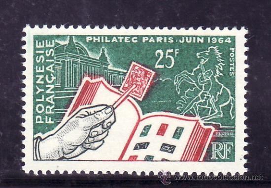 POLINESIA 26 CON CHARNELA, PHILATEC, EXPOSICION FILATELICA INTERNACIONAL EN PARIS, (Sellos - Extranjero - Oceanía - Otros paises)
