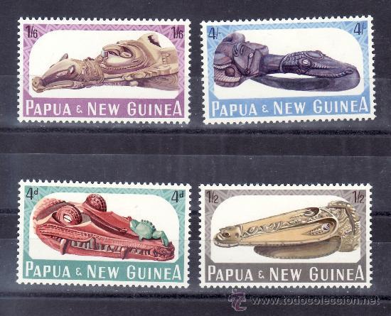 PAPUA Y NUEVA GUINEA 73/6 SIN CHARNELA, BARCO, PROAS DE CANOAS (Sellos - Extranjero - Oceanía - Otros paises)