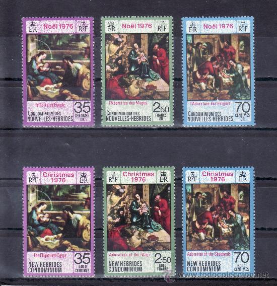 NUEVAS HEBRIDAS 438/43 SIN CHARNELA, NAVIDAD, PINTURA, (Sellos - Extranjero - Oceanía - Otros paises)