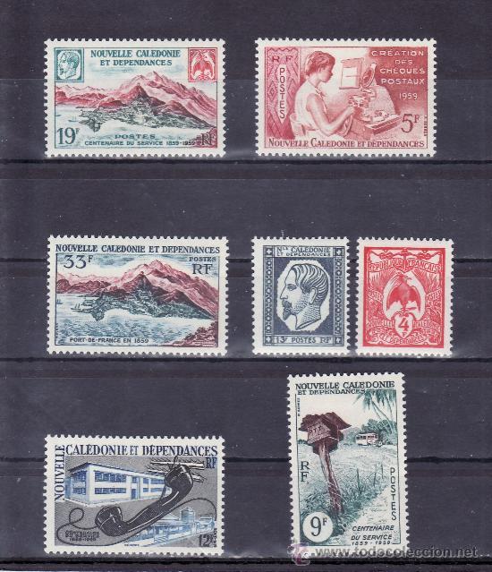 NUEVA CALEDONIA 295/301 CON CHARNELA, CENTENARIO DEL CORREO Y DEL SELLO DE NUEVA CALEDONIA (Sellos - Extranjero - Oceanía - Otros paises)