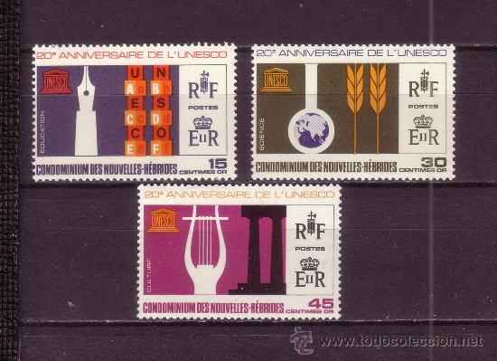 NUEVAS HEBRIDAS 249/51*** - AÑO 1966 - 20º ANIVERSARIO DE UNESCO (Sellos - Extranjero - Oceanía - Otros paises)