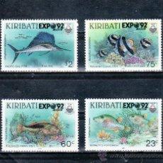 Sellos: KIRIBATI 258/61 SIN CHARNELA, FAUNA, SOBRECARGADO EXPO 92, EXPOSICION UNIVERSAL SEVILLA 1992 . Lote 27679048