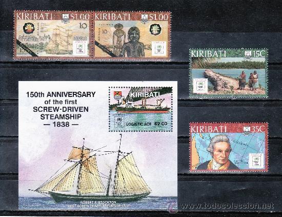 KIRIBATI 185/9, HB 9 SIN CHARNELA, BARCO, MAPA, BICENTENARIO DE LA COLONIZACION DE AUSTRALIA, (Sellos - Extranjero - Oceanía - Otros paises)