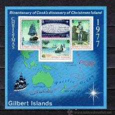 Sellos: GILBERT ISLANDS HB 2 SIN CHARNELA, BARCO, NAVIDAD, BICENTENARIO DESCUBRIMIENTO POR EL CAPITAN COOK. Lote 25220612