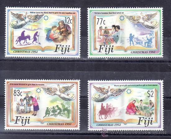 FIJI 685/8 SIN CHARNELA, NAVIDAD, (Sellos - Extranjero - Oceanía - Otros paises)