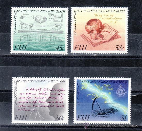 FIJI 599/602 SIN CHARNELA, BARCO, BICENTENARIO DEL VIAJE DEL CAPITAN BLIGH (Sellos - Extranjero - Oceanía - Otros paises)