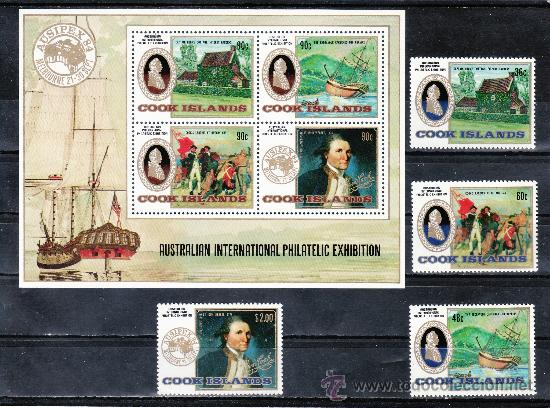 COOK 801/4, HB 145 SIN CHARNELA, AUSIPEX 84 EXPOSICION FILATELICA INTERNACIONAL, (Sellos - Extranjero - Oceanía - Otros paises)