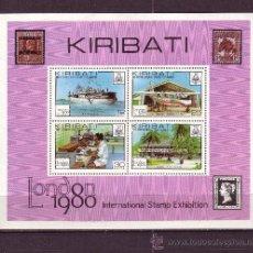 Sellos: KIRIBATI HB 2** - AÑO 1980 - EXPOSICION FILATELICA INTERNACIONAL LONDON 80 - BARCOS - AVIONES. Lote 27876456