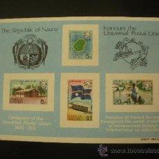 Sellos: NAURU 1974 HB IVERT 1 *** CENTENARIO DE LA UNIÓN POSTAL UNIVERSAL - UPU. Lote 28026571