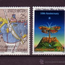 Sellos: NACIONES UNIDAS NEW YORK 545/46*** - AÑO 1989 - 10º ANIVERSARIO DEL CENTRO DE VIENA. Lote 29440385