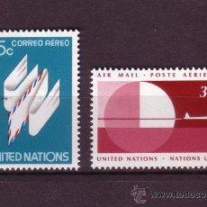 Sellos: NACIONES UNIDAS NEW YORK AÉREO 22/23*** - AÑO 1977 - SERIE BASICA - SIMBOLOS. Lote 29494426
