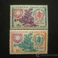 Sellos: POLINESIA 1968 IVERT 60/1 *** 20º ANIVERSARIO ORGANIZACIÓN MUNDIAL DE LA SALUD. Lote 30778696