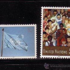 Sellos: NACIONES UNIDAS NEW YORK 595/96*** - AÑO 1991 - BANDERA - MOSAICO DE NORMAN ROCKWELL. Lote 32526330