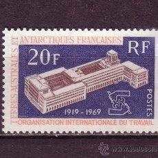 Sellos: TIERRAS AUSTRALES Y ANTARTICAS FRANC. 32*** - AÑO 1969 - 50º ANIVERSARIO DE LA OIT. Lote 33747539