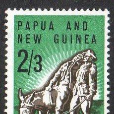 Sellos: PAPUA NUEVA GUINEA AÑO 1965 YV 77*** 50 ANVº DEL ANZAC - UNIFORMES MILITARES - FAUNA. Lote 35020162