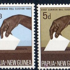 Sellos: PAPUA NUEVA GUINEA AÑO 1964 YV 56/57*** ELECCIONES - MANOS - POLÍTICA. Lote 35020339