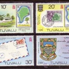 Sellos: TUVALU 130/33*** - AÑO 1980 - EXPOSICION FILATELICA INTERNACIONAL LONDON 80 - MAPAS. Lote 36207641