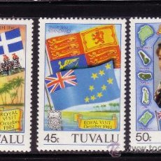 Sellos: TUVALU 181/83*** - AÑO 1982 - VISITA REAL. Lote 36208046
