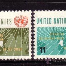 Sellos: NACIONES UNIDAS NEW YORK 106/07*** - AÑO 1962 - OPERACIONES DE NACIONES UNIDAS EN EL CONGO. Lote 36378930