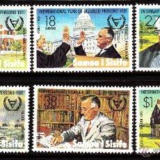 Sellos: SAMOA 484/89** - AÑO 1981 - AÑO INTERNACIONAL DEL MINUSVALIDO - FRANKLIN D. ROOSEVELT. Lote 40451528