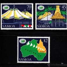 Sellos: SAMOA 655/57** - AÑO 1988 - EXPOSICION MUNDIAL DE BRISBANE EXPO 88. Lote 40490035