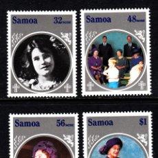 Sellos: SAMOA 584/87** - AÑO 1985 - 85º ANIVERSARIO DE LA REINA MADRE. Lote 40679004