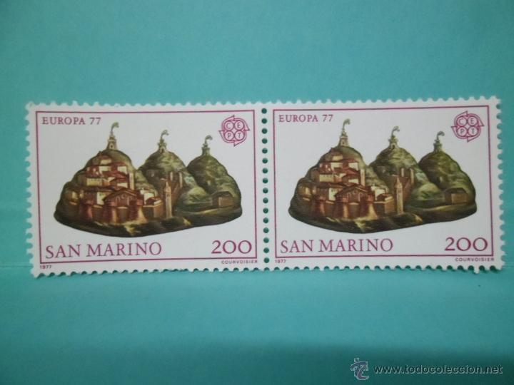 LOTE DE 2 SELLOS SAN MARINO - EUROPA 77 - (Sellos - Extranjero - Oceanía - Otros paises)