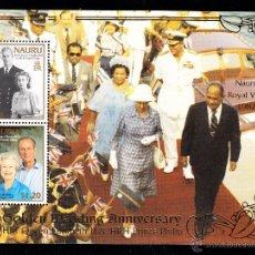 Sellos: NAURU HB 18** - AÑO 1997 - 50º ANIVERSARIO DE LA BODA DE LA REINA ISABEL II. Lote 45716466