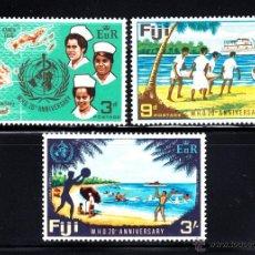 Sellos: FIJI 236/38** - AÑO 1968 - MEDICINA - 20º ANIVERSARIO DE LA ORGANIZACION MUNDIAL DE LA SALUD. Lote 47645685