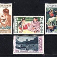 Sellos: POLINESIA AEREO 1/4** - AÑO 1958 - PINTURA - OBRAS DE GAUGUIN - TRADICIONES. Lote 50680512