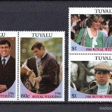 Sellos: TUVALU 377/80** - AÑO 1986 - BODA DEL PRÍNCIPE ANDRÉS Y MISS SARAH FERGUSON. Lote 55391005