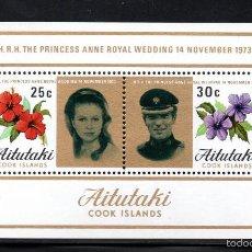 Sellos: AITUTAKI HB 1** - AÑO 1973 - BODA DE LA PRINCESA ANNE Y EL CAPITAN MARK PHILLIPS. Lote 60687819