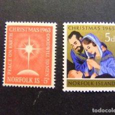 Sellos: NORFOLK 1963 - 65 NAVIDAD NOËL CHRISTMAS YVERT Nº 52 + 59 * MH SG N º 50 + 59 * MH. Lote 67778629