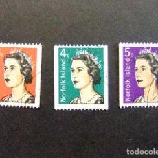 Sellos: NORFOLK 1968 ELIZABETH II EMIS ENROULEAUX YVERT Nº 95 / 97 º FU SERIE INCOMPLETA. Lote 67791629