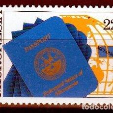 Sellos: ESTADOS FEDERADOS DE MICRONESIA. 1986. SERIE : 1º ANIVERSARIO PASAPORTE DE MICRONESIA **,MNH. Lote 68887905