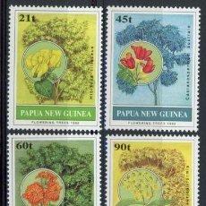 Sellos: PAPUA Y NUEVA GUINEA 1992 IVERT 663/6 *** FLORA - ARBOLES Y SUS FLORES. Lote 69359537