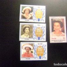Sellos: TUVALU 1986 60 TH BIRTHDAY QUEEN ELIZABETH II YVERT &TELLIER Nº 359 / 362 ** SG Nº 381 / 384 MNH. Lote 74362007