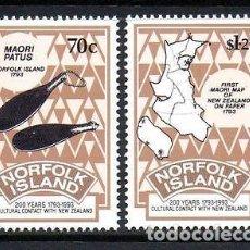 Sellos: NORFOLK 1993 IVERT 545/6 *** 2º CENTENARIO DE LAS RELACIONES CULTURALES CON NUEVA ZELANDA. Lote 74681431