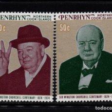 Sellos: PENRHYN 60/61** - AÑO 1974 - CENTENARIO DEL NACIMIENTO DE SIR WINSTON CHURCHILL. Lote 90494550