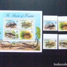 Sellos: KIRIBATI EX GILBERT 1987 FAUNA LAGARTOS YVERT N 172 / 75 + BLOC 8 ** MNH. Lote 90972010