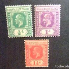 Sellos: GILBERT & ELLICE ISLANDS ISLAS GILBERT Y ELLICE 1922-27 GEORGE V YVERT N 26 - 28 * MH. Lote 95971471