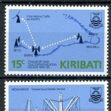Sellos: KIRIBATI 1985 IVERT 147/8 *** DECENIO DE LOS TRANSPORTES Y LAS COMUNICACIONES (I) - BARCOS. Lote 97844447