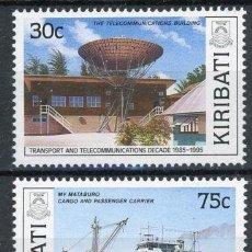 Sellos: KIRIBATI 1989 IVERT 205/6 *** DECENIO DE LOS TRANSPORTES Y LAS COMUNICACIONES (IV) - BARCOS. Lote 97844979