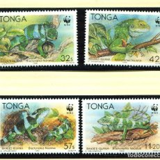 Sellos: TONGA 1990 MI 1140 A 1143 4 SELLOS MNH + 4 FDC + 4 TARJETAS MAXIMAS WWF. Lote 106750131