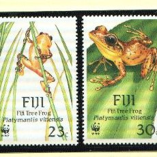 Sellos: FIJI 1988 MI 586 A 589 4 SELLOS MNH + 4 FDC + 4 TARJETAS MAXIMAS WWF. Lote 106913091