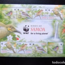 Sellos: SAMOA WWF BIRDS OF SAMOA FOR LIVING PLANET - FEUILLE COMPLÈTE DE 2 SÉRIES ** MNH. Lote 116791039