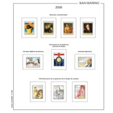 Sellos: HOJAS DE SELLOS FILKASOL MONTADAS SAN MARINO SUPLEMENTO 2008. Lote 123892424
