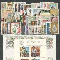 Sellos: TEMA EUROPA 1980 - COMPLETO TEMA EUROPA 67 SELLOS + 2 HB. Lote 123920875